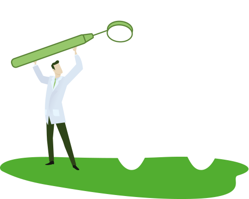 Illustration of a doctor providing by OTP Insurance My prevention, having a sizeable white tooth examined by a dental mirror